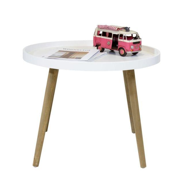 Bhp Table Basse avec Pieds en Bois Blanc Mdf Table d'Appoint Table de Nuit