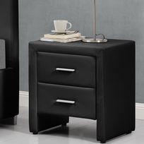Concept Usine - Hilton noir : table de chevet en simili noir avec 2 tiroirs