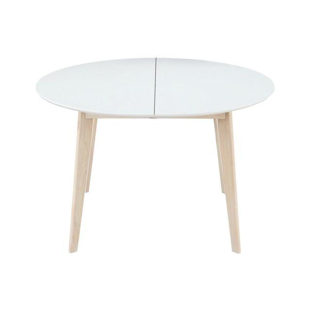 Miliboo - Table à manger design ronde extensible blanc et bois L120 ...