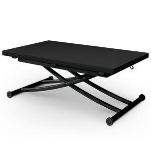 MENZZO - Table basse relevable Carrera Noir carbone 114cm x 76cm x 100cm
