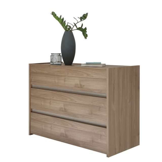 Tousmesmeubles Commode 3 tiroirs Noyer clair/Argile - Aniece