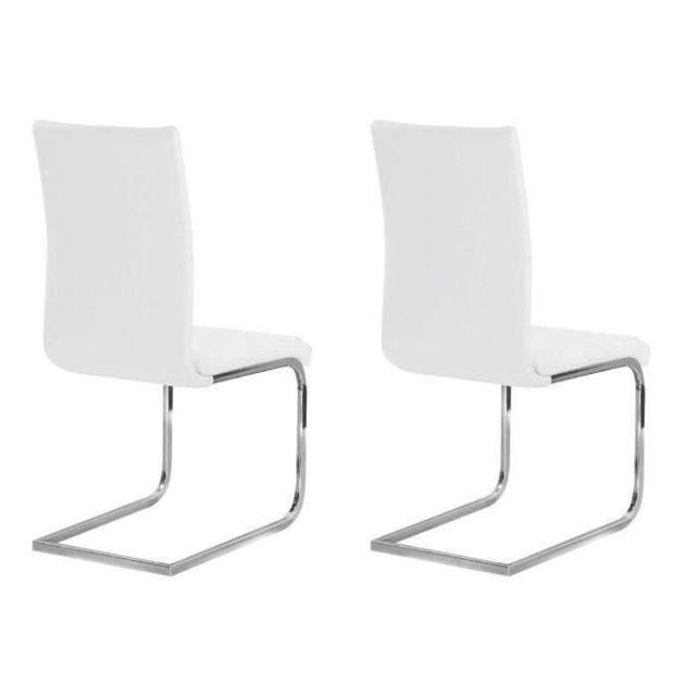 CHAISE LEA Lot de 2 chaises de salle a manger - Simili blanc - Style contemporain - L 43 x P 56 cm
