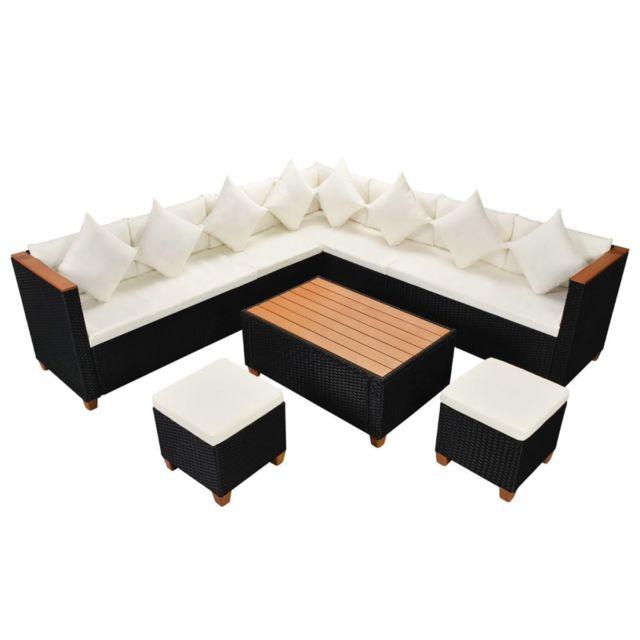 Icaverne - Ensembles de meubles d\'extérieur edition Mobilier de jardin 29  pcs Résine tressée Dessus en Wpc Noir