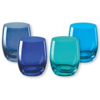 Bruno Evrard - Gobelets bas en verre bleu 30cl - Lot de 4 - Kador