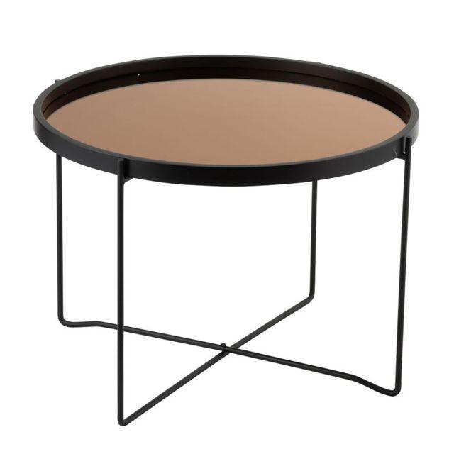 Tousmesmeubles Table basse ronde Métal Miroir noir/cuivre - Calama n°1