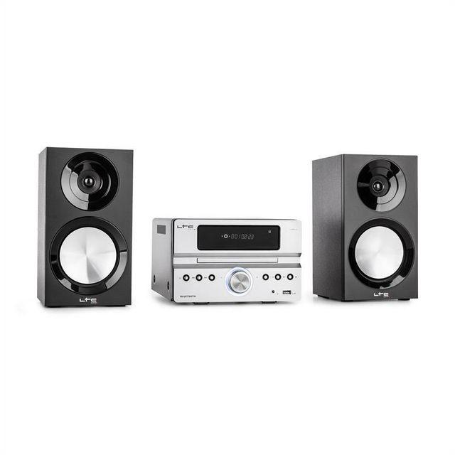 LTC CDM90-SI Micro chaîne HiFi stéréo 40W Bluetooth USB CD FM/AM - argent