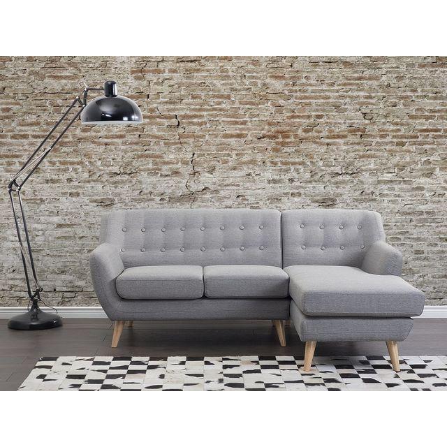 Beliani Canapé d angle - canapé en tissu gris clair - Motala