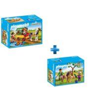 Enfants avec chariot et poney + Vétérinaire avec enfant et poneys