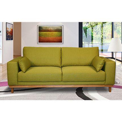 Canapé 3 places fixes pieds bois massif en tissu pistache - Marie