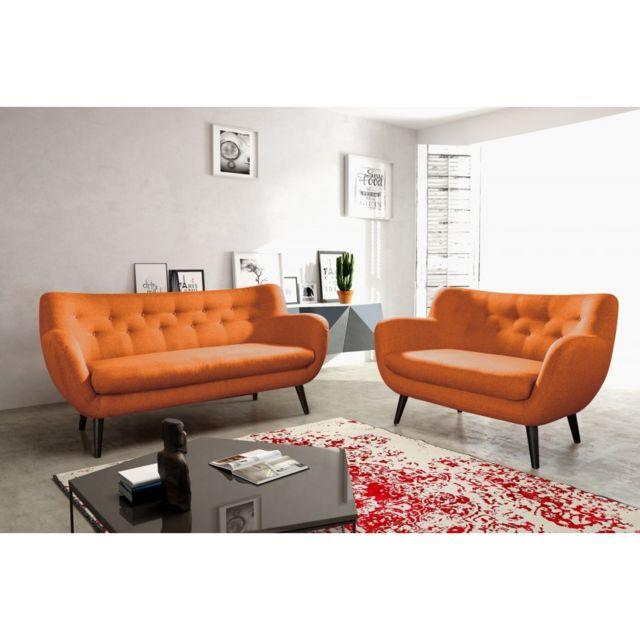Rocambolesk Canapé Adele 3+2 sawana 18 orange avec pieds noir sofa divan