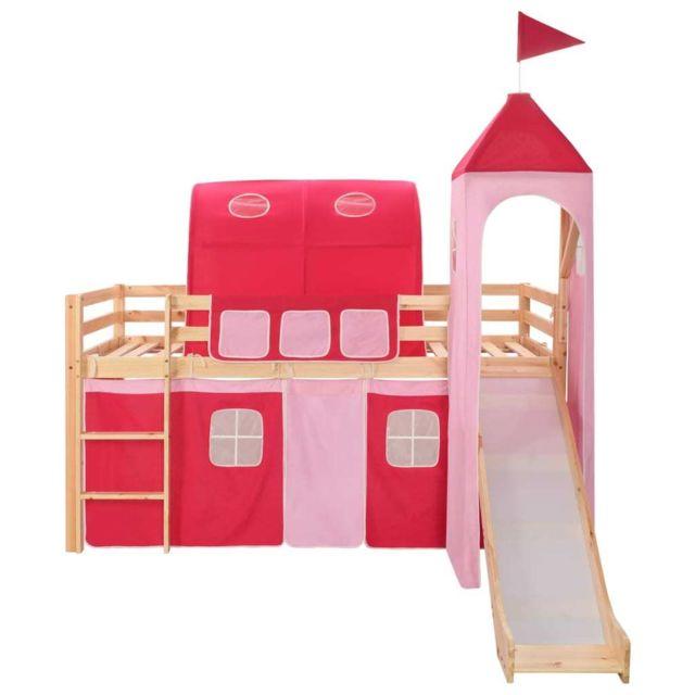 Icaverne - Lits bébés et enfants reference Lit mezzanine d'enfants avec toboggan et échelle Pin 97x208 cm