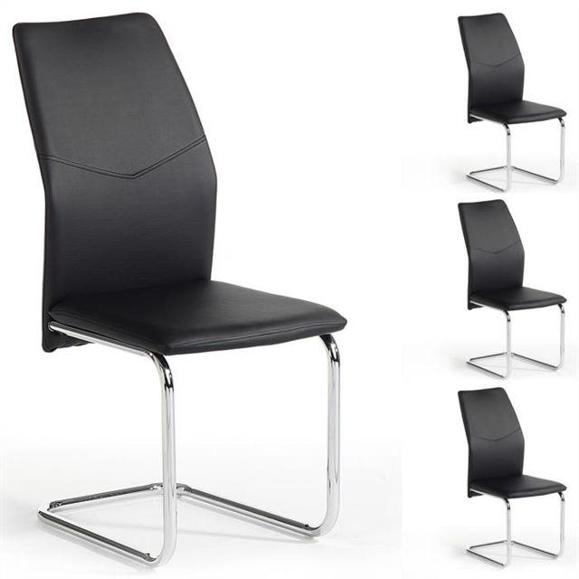 IDIMEX Lot de 4 chaises de salle à manger LEONA piètement