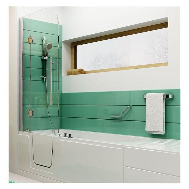 ilea baignoire a porte gauche et parois vitre avec siege pour seniors pmr handicapes pas. Black Bedroom Furniture Sets. Home Design Ideas