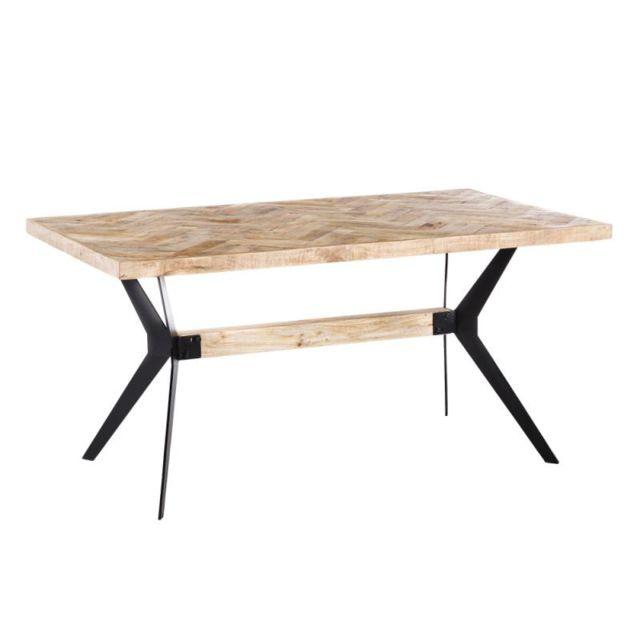 Tousmesmeubles Table de repas rectangulaire Bois/Métal - Paiva