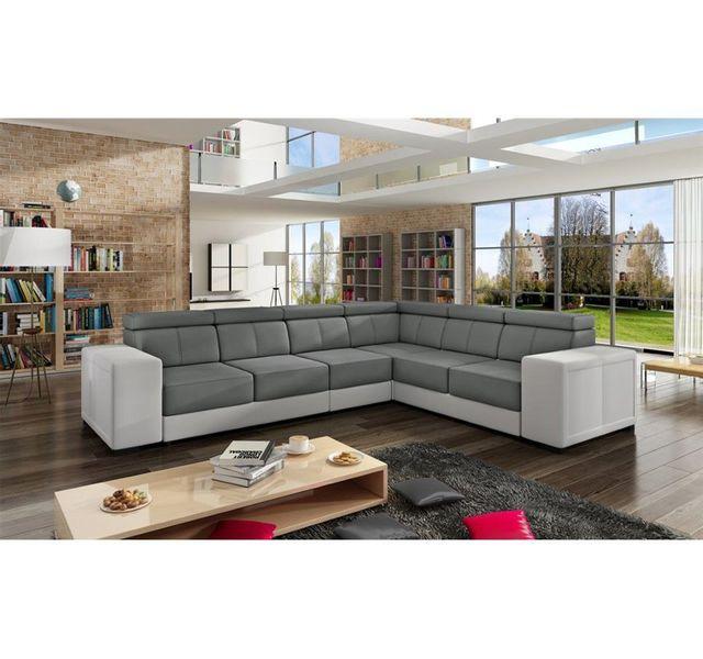 CHLOE DESIGN Canapé d'angle karolina - gris et blanc - Réversible