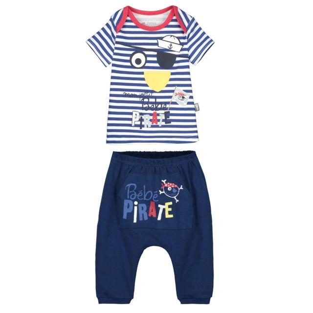 4c13d5482a6d6 Petit Beguin - Ensemble bébé garçon t-shirt + sarouel Bébé Pirate - Couleur  -
