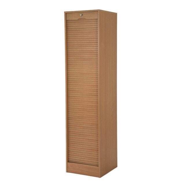 Armoire de bureau à rideau en bois avec serrure Matha - Hêtre - 172cm