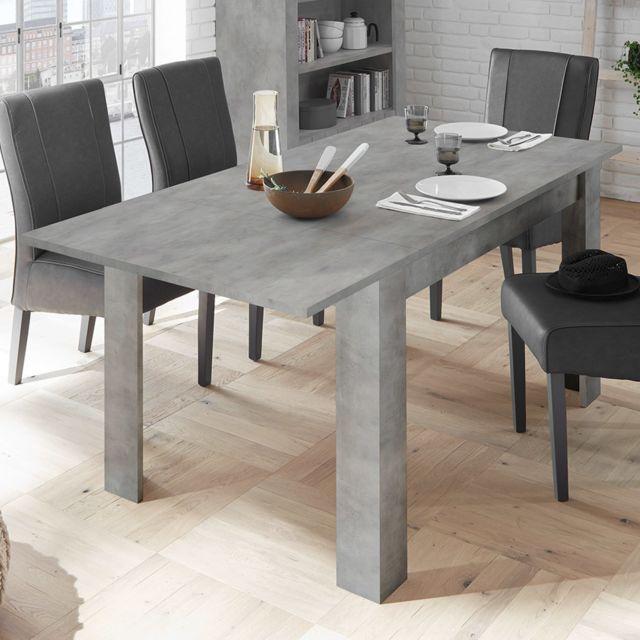 Sofamobili Table à rallonge 140 cm couleur béton grise Artic 4