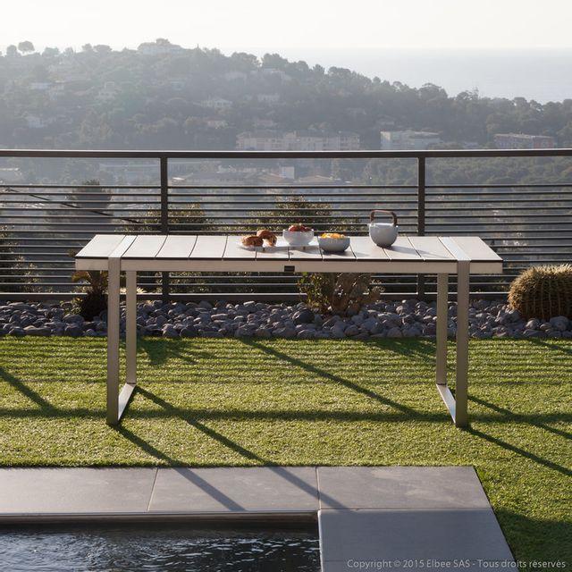 Ermanno G Table de jardin aluminium/composite 180x90 cm Eleganza