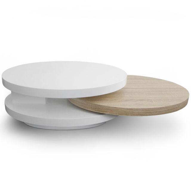 MENZZO Table basse plateaux tournants Gala Laqué Blanc et Chêne