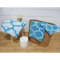 Today - Parure de bain Mosaik 100% coton - 1 gant + 1 serviette + 1 drap de douche baltik