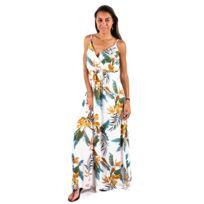 04f2ea62e9 Carlabikini - Robe longue de plage Carla-Bikini Luiza Croisée Fleurs Blanc