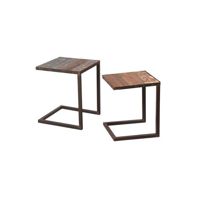 Lot de 2 tables gigognes en acier et bois Atelier Metal