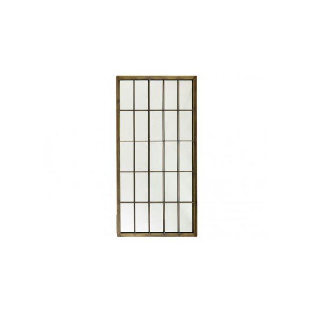 Marque Generique Miroir fenêtre atelier Nicael - L 76 x H152 cm - Métal - Laiton antique