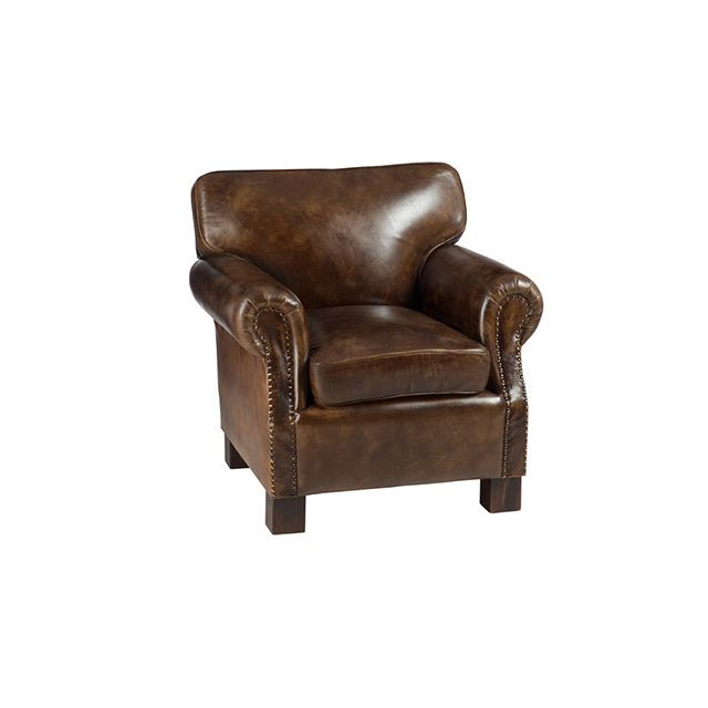 fauteuil en cuir et bois marron sebpeche31. Black Bedroom Furniture Sets. Home Design Ideas