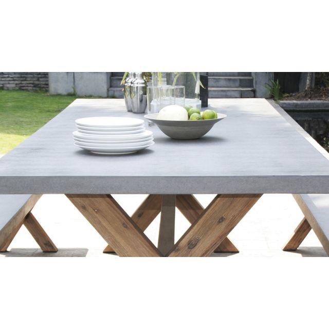 Salon de jardin en teck grade A, comprenant 1 table rectangulaire 120/180  90cm et 2 lots de 2 chaises pliantes textilène couleur taupe