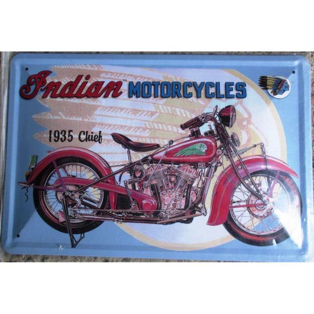 universel plaque moto indian motorcycle 30cm tole bomb e deco garage pas cher achat vente. Black Bedroom Furniture Sets. Home Design Ideas