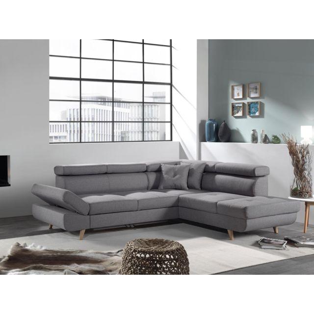 BOBOCHIC - LINEA - Canapé angle droit CV - Gris clair - Style scandinave