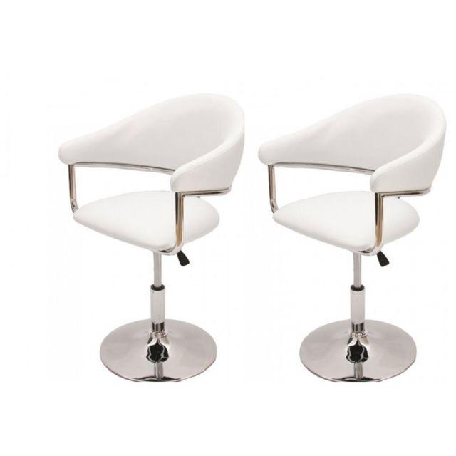 Autre 2 fauteuils de salle à manger réglable en hauteur simili-cuir blanc Cds04063