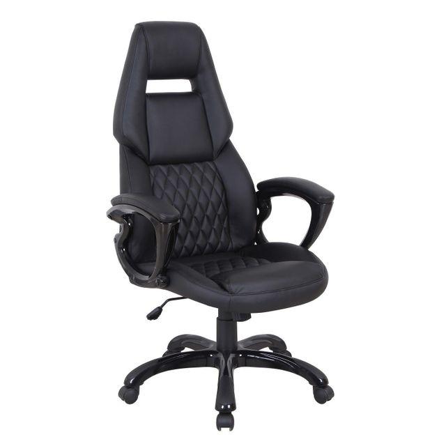 Comforium Chaise de bureau baquet pvc noir