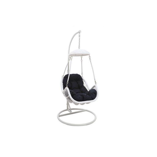 miliboo fauteuil suspendu m tal blanc et tissu bleu. Black Bedroom Furniture Sets. Home Design Ideas
