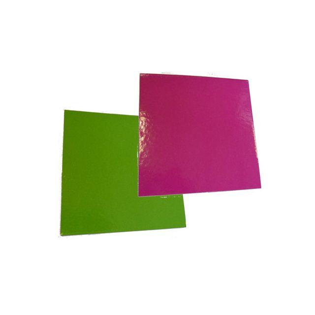 Carré cartonné anis/fuchsia 24x24 cm