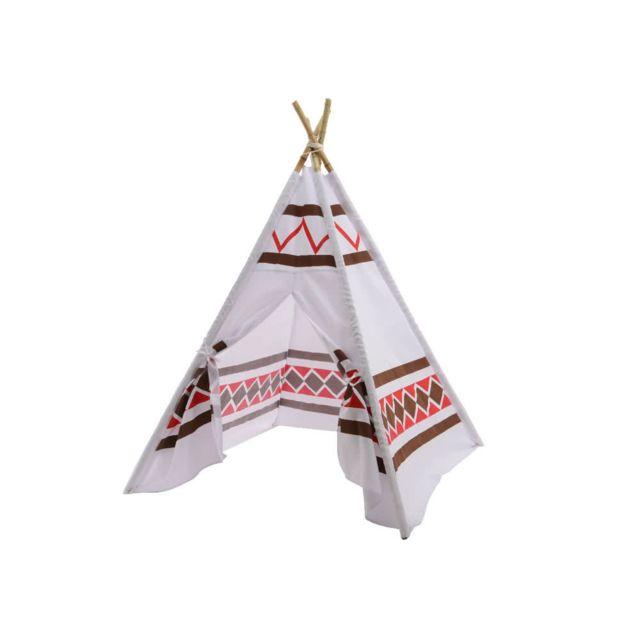 Decoris - Tente tipi indien pour enfant à motif blanc et marron 120x120x150cm Kiddonc