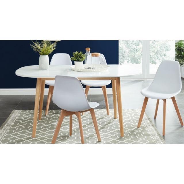 HOMIFAB Table à manger scandinave blanc et bois 160x80x75 cm - Collection Erika