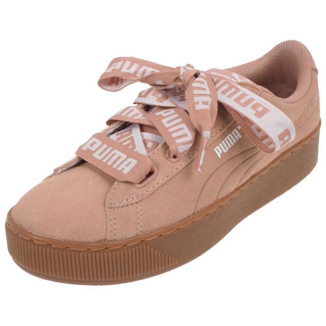grossiste a9ba8 da64d Chaussures basses cuir ou simili Vikky platform ribbon rse Rose 44444