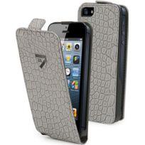 Cremieux - Etui à rabat slim croco gris iPhone 5s Crsli0007