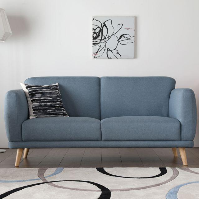 Concept Usine Agatha bleu : Canapé scandinave 3 places bleu pastel