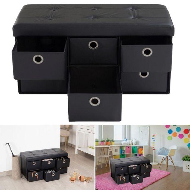 idmarket banc coffre rangement noir 6 tiroirs 76x38x38cm pvc pas cher achat vente banc de. Black Bedroom Furniture Sets. Home Design Ideas