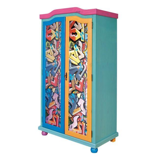 Comforium Armoire à 2 portes pour enfant en pin massif 130 cm coloris bleu et motifs graffitis