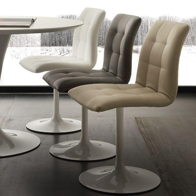 Nouvomeuble Chaise pivotante taupe design Cesario