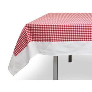 soleil d 39 ocre nappe carr e en coton anti t ches 140x140 cm vichy rouge jacquard pas cher. Black Bedroom Furniture Sets. Home Design Ideas