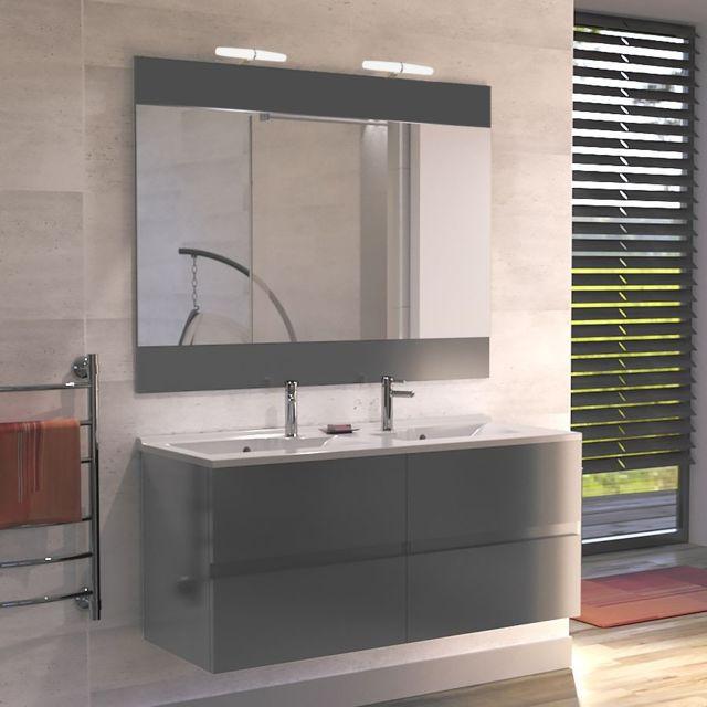 Creazur meuble salle de bain double vasque rosaly 120 gris brillant pas cher achat vente - Meuble sdb double vasque ...