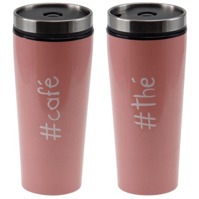 incidence - mug de voyage isotherme - colorama - thé café - rose