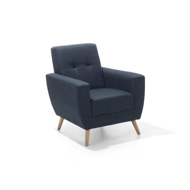 BELIANI Fauteuil en tissu fauteuil tapissé bleu foncé