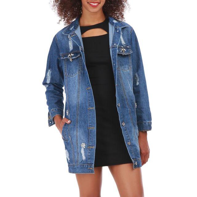 Veste en jean longue femme avec perles