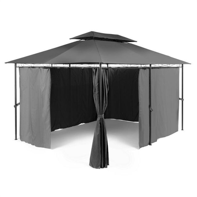 BLUMFELDT Grandezza Tente pavillon de jardin 3x4m acier polyester - grise